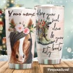 Personalized Horse Keep Your Soul Clean Stainless Steel Tumbler Tumbler Cups For Coffee/Tea Perfect Customized Gifts For Birthday Christmas Thanksgiving Awesome Gifts For Horse Lovers