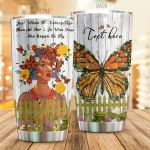 Personalized Flowery Monarch Butterflies She Began To Fly Stainless Steel Tumbler Perfect Gifts For Butterfly Lover Tumbler Cups For Coffee/Tea, Great Customized Gifts For Birthday Christmas Thanksgiving