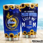 Personalized Police Mom Sunflower My Favorite Police Officer Stainless Steel Tumbler Perfect Gifts For Police Tumbler Cups For Coffee/Tea, Great Customized Gifts For Birthday Christmas Thanksgiving Mother's Day
