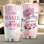 Personalized Pink Baked With Love Stainless Steel Tumbler Perfect Gifts For Baking Lover Tumbler Cups For Coffee/Tea, Great Customized Gifts For Birthday Christmas Thanksgiving