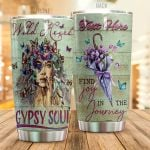 Personalized Hippie Vintage Butterflies Find Joy In The Journey Stainless Steel Tumbler Perfect Gifts For Hippie Tumbler Cups For Coffee/Tea, Great Customized Gifts For Birthday Christmas Thanksgiving