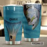 Personalized Fishing Head And Tail Stainless Steel Tumbler Perfect Gifts For Fishing Lover Tumbler Cups For Coffee/Tea, Great Customized Gifts For Birthday Christmas Thanksgiving