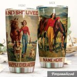 Personalized Horse She Lived Happily Ever After Stainless Steel Tumbler Tumbler Cups For Coffee/Tea Perfect Customized Gifts For Birthday Christmas Thanksgiving Awesome Gifts For Horse Lovers