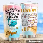 Personalized Adorable Cat I Love My Soft Kitty Stainless Steel Tumbler Perfect Gifts For Cat Lover Tumbler Cups For Coffee/Tea, Great Customized Gifts For Birthday Christmas Thanksgiving