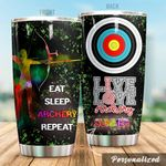 Personalized Eat Sleep Archery Repeat Stainless Steel Tumbler Perfect Gifts For Archery Lover Tumbler Cups For Coffee/Tea, Great Customized Gifts For Birthday Christmas Thanksgiving