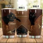 Personalized Black Cat In Zipper Stainless Steel Tumbler Perfect Gifts For Black Cat Lover Tumbler Cups For Coffee/Tea, Great Customized Gifts For Birthday Christmas Thanksgiving