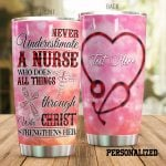 Personalized Nurse Stethoscope Never Underestimate A Nurse Stainless Steel Tumbler Perfect Gifts For Nurse Tumbler Cups For Coffee/Tea, Great Customized Gifts For Birthday Christmas Thanksgiving