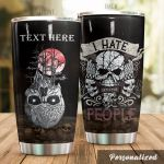 Personalized Skull I Hate People Stainless Steel Tumbler Perfect Gifts For Skull Lover Tumbler Cups For Coffee/Tea, Great Customized Gifts For Birthday Christmas Thanksgiving
