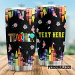 Personalized Colorful Crayons Teacher Stainless Steel Tumbler Perfect Gifts For Teacher Tumbler Cups For Coffee/Tea, Great Customized Gifts For Birthday Christmas Thanksgiving