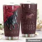 Personalized Horse Lover And Flower Stainless Steel Tumbler Perfect Gifts For Horse Lover Tumbler Cups For Coffee/Tea, Great Customized Gifts For Birthday Christmas Thanksgiving