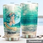Personalized Pretty Mermaid But Approach Her With Caution Stainless Steel Tumbler Perfect Gifts For Mermaid Lover Tumbler Cups For Coffee/Tea, Great Customized Gifts For Birthday Christmas Thanksgiving