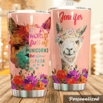 Personalized Alpaca In A World Full Of Unicorns Stainless Steel Tumbler Perfect Gifts For Unicorn Lover Tumbler Cups For Coffee/Tea, Great Customized Gifts For Birthday Christmas Thanksgiving