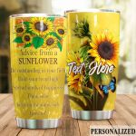 Personalized Sunflower Be Oustanding In Your Field Stainless Steel Tumbler Perfect Gifts For Sunflower Lover Tumbler Cups For Coffee/Tea, Great Customized Gifts For Birthday Christmas Thanksgiving