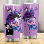Personalized Cat And Purple Flower Stainless Steel Tumbler Perfect Gifts For Cat Lover Tumbler Cups For Coffee/Tea, Great Customized Gifts For Birthday Christmas Thanksgiving