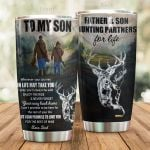 Personalized Hunting Family To My Son From Dad Promise To Love You Stainless Steel Tumbler Perfect Gifts For Hunting Lover Tumbler Cups For Coffee/Tea, Great Customized Gifts For Birthday Christmas Thanksgiving