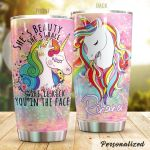 Personalized Unicorn Beauty She'll Kick You In The Face Stainless Steel Tumbler Perfect Gifts For Unicorn Lover Tumbler Cups For Coffee/Tea, Great Customized Gifts For Birthday Christmas Thanksgiving