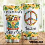 Personalized Hippie Van And Sunflower A Girl And Her Animals Living Life In Peace Stainless Steel Tumbler Perfect Gifts For Hippie Tumbler Cups For Coffee/Tea, Great Customized Gifts For Birthday Christmas Thanksgiving