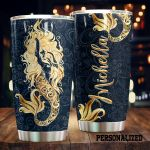 Personalized Golden Mermaid Stainless Steel Tumbler Perfect Gifts For Mermaid Lover Tumbler Cups For Coffee/Tea, Great Customized Gifts For Birthday Christmas Thanksgiving