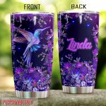 Personalized Hummingbird With Aesthetic Flower Stainless Steel Tumbler Perfect Gifts For Hummingbird Lover Tumbler Cups For Coffee/Tea, Great Customized Gifts For Birthday Christmas Thanksgiving