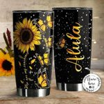Personalized Sunflower Monarch Butterfly You Are My Sunshine Stainless Steel Tumbler Perfect Gifts For Butterfly Lover Tumbler Cups For Coffee/Tea, Great Customized Gifts For Birthday Christmas Thanksgiving