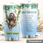 Personalized Sloth Take Your Time Stainless Steel Tumbler Perfect Gifts For Sloth Lover Tumbler Cups For Coffee/Tea, Great Customized Gifts For Birthday Christmas Thanksgiving