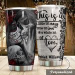 Personalized Skull Couple A Little Bit Crazy Stainless Steel Tumbler Perfect Gifts For Skull Lover Tumbler Cups For Coffee/Tea, Great Customized Gifts For Birthday Christmas Thanksgiving Wedding Valentine's Day