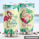 Personalized Tropical Flamingo Sandy Toes Stainless Steel Tumbler Perfect Gifts For Flamingo Lover Tumbler Cups For Coffee/Tea, Great Customized Gifts For Birthday Christmas Thanksgiving
