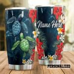 Personalized Floral Sea Turtles Stainless Steel Tumbler Perfect Gifts For Sea Turtle Lover Tumbler Cups For Coffee/Tea, Great Customized Gifts For Birthday Christmas Thanksgiving