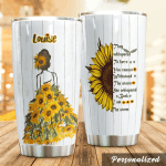 Personalized Sunflower Lady They Whispered To Her Stainless Steel Tumbler Perfect Gifts For Sunflower Lover Tumbler Cups For Coffee/Tea, Great Customized Gifts For Birthday Christmas Thanksgiving