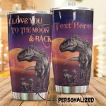 Personalized Dinosaur Family I Love You To The Moon And Back Stainless Steel Tumbler Perfect Gifts For Dinosaur Lover Tumbler Cups For Coffee/Tea, Great Customized Gifts For Birthday Christmas Thanksgiving
