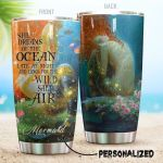 Personalized Mermaid In The Ocean Late At Night And Longs For The Wild Stainless Steel Tumbler Perfect Gifts For Mermaid Lover Tumbler Cups For Coffee/Tea, Great Customized Gifts For Birthday Christmas Thanksgiving
