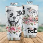 Personalized Pitbull Drawing Art Stainless Steel Tumbler, Tumbler Cups For Coffee/Tea, Great Customized Gifts For Birthday Christmas Thanksgiving