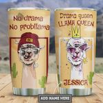 Personalized Llama Queen No Drama No Probllama Stainless Steel Tumbler, Tumbler Cups For Coffee/Tea, Great Customized Gifts For Birthday Christmas Thanksgiving
