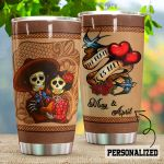 Personalized Sugar Skull Couple Till Death Do Us Part Stainless Steel Tumbler Perfect Gifts For Skull Lover Tumbler Cups For Coffee/Tea, Great Customized Gifts For Birthday Christmas Thanksgiving Wedding Valentine's Day
