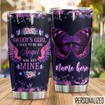 Personalized Butterfly Daddy's Girl He's Mine Stainless Steel Tumbler Perfect Gifts For Butterfly Lover Tumbler Cups For Coffee/Tea, Great Customized Gifts For Birthday Christmas Thanksgiving Father's Day
