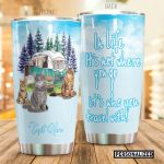 Personalized Camping Tabby Cat It's Not Where You Go Stainless Steel Tumbler Perfect Gifts For Cat Lover Tumbler Cups For Coffee/Tea, Great Customized Gifts For Birthday Christmas Thanksgiving