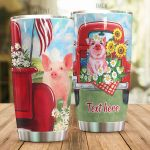 Personalized Pig With Red Car Sunflower Stainless Steel Tumbler Perfect Gifts For Pig Lover Tumbler Cups For Coffee/Tea, Great Customized Gifts For Birthday Christmas Thanksgiving