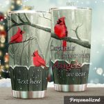 Personalized Cardinal In Winter Angels Are Near Stainless Steel Tumbler Perfect Gifts For Cardinal Lover Tumbler Cups For Coffee/Tea, Great Customized Gifts For Birthday Christmas Thanksgiving
