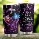 Personalized Colorfull Butterfly Walk Beside Us Everyday Stainless Steel Tumbler Perfect Gifts For Butterfly Lover Tumbler Cups For Coffee/Tea, Great Customized Gifts For Birthday Christmas Thanksgiving