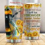 Personalized Bee Sunflower Braver Kinder Stainless Steel Tumbler Perfect Gifts For Bee Lover Tumbler Cups For Coffee/Tea, Great Customized Gifts For Birthday Christmas Thanksgiving