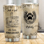Personalized Horse Just A Girl Who Loves Horses And Dogs Stainless Steel Tumbler Perfect Gifts For Horse Lover Tumbler Cups For Coffee/Tea, Great Customized Gifts For Birthday Christmas Thanksgiving