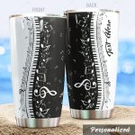 Personalized Piano And Notes Stainless Steel Tumbler Perfect Gifts For Piano Lover Tumbler Cups For Coffee/Tea, Great Customized Gifts For Birthday Christmas Thanksgiving