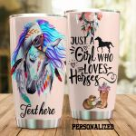 Personalized Native Horse A Girl Who Loves Horses Stainless Steel Tumbler Tumbler Cups For Coffee/Tea Perfect Customized Gifts For Birthday Christmas Thanksgiving Awesome Gifts For Horse Lovers