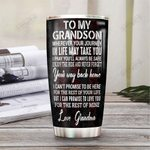 Personalized Puerto Rico From Grandma To My Grandson Pray You'll Always Be Safe Stainless Steel Tumbler Tumbler Cups For Coffee/Tea Great Customized Gifts For Birthday Christmas Thanksgiving