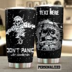 Personalized Skull Astronaut Don't Panic Stainless Steel Tumbler Perfect Gifts For Skull Lover Tumbler Cups For Coffee/Tea, Great Customized Gifts For Birthday Christmas Thanksgiving