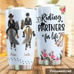 Personalized Bestie Horse Riding Partners For Life Stainless Steel Tumbler Tumbler Cups For Coffee/Tea Perfect Customized Gifts For Birthday Christmas Thanksgiving Awesome Gifts For Horse Lovers