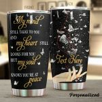 Personalized Silver Butterfly My Heart Still Looks For You Stainless Steel Tumbler Perfect Gifts For Butterfly Lover Tumbler Cups For Coffee/Tea, Great Customized Gifts For Birthday Christmas Thanksgiving