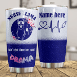 Personalized Nurse Llama Ain't Got Time For Your Drama Stainless Steel Tumbler Perfect Gifts For Llama Lover Tumbler Cups For Coffee/Tea, Great Customized Gifts For Birthday Christmas Thanksgiving