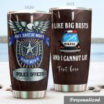 Personalized Police Car Sleep With A Police Officer Stainless Steel Tumbler Perfect Gifts For Police Tumbler Cups For Coffee/Tea, Great Customized Gifts For Birthday Christmas Thanksgiving