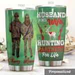 Personalized Husband And Wife Deer Hunting Partners For Life Stainless Steel Tumbler Perfect Gifts For Hunting Lover Tumbler Cups For Coffee/Tea, Great Customized Gifts For Birthday Christmas Thanksgiving Wedding Valentine's Day